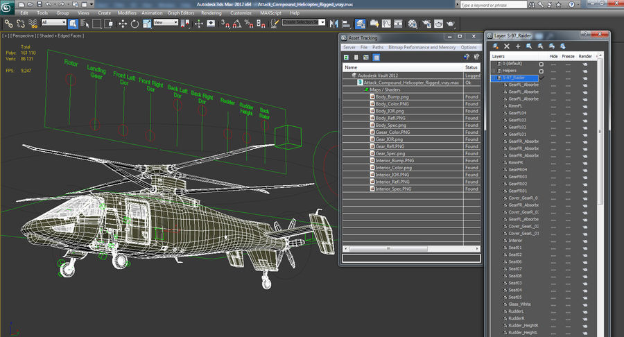 Attack Compound Helicopter Rigged Modèle 3D royalty-free 3d model - Preview no. 24