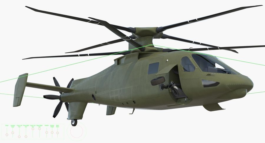 Attack Compound Helicopter Rigged Modèle 3D royalty-free 3d model - Preview no. 19