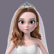 Cartoon Bride NoRig 3d model