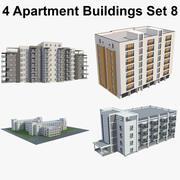 4 Apartment Buildings Set_8 3d model