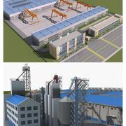Verzameling van fabrieksgebouwen 3d model