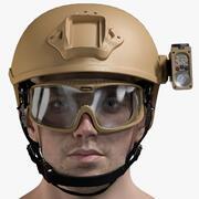 Mężczyzna głowa wojskowa 3d model