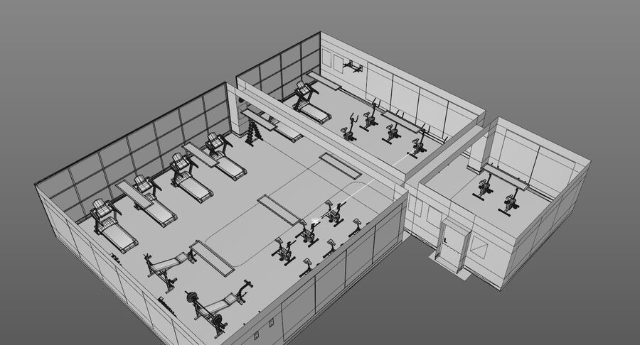 Fitnessstudio royalty-free 3d model - Preview no. 15