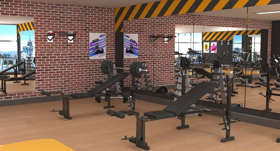 Fitnessstudio royalty-free 3d model - Preview no. 6