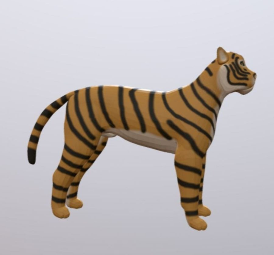 Cartoon Tiger royalty-free 3d model - Preview no. 3