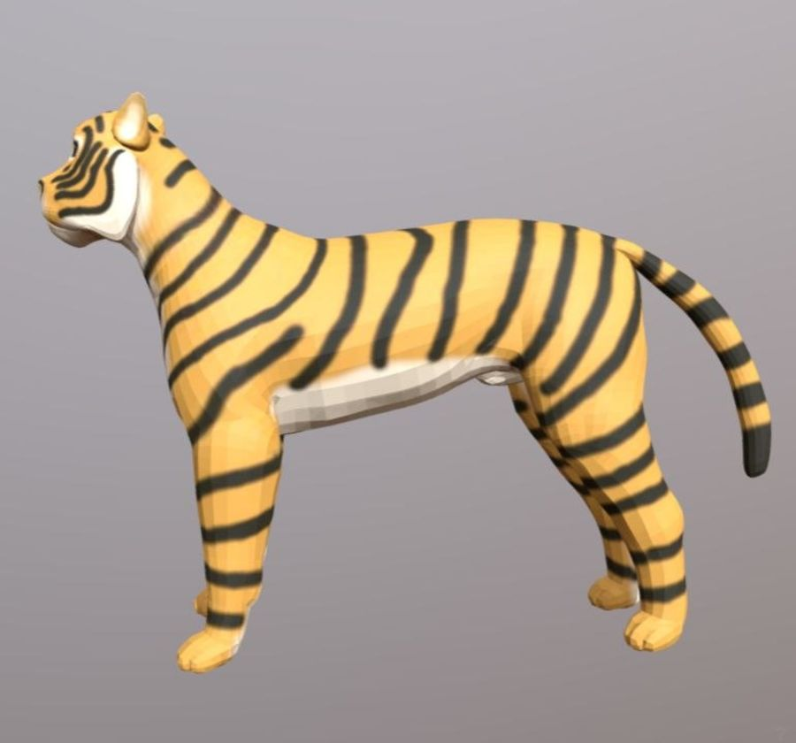 Cartoon Tiger royalty-free 3d model - Preview no. 4
