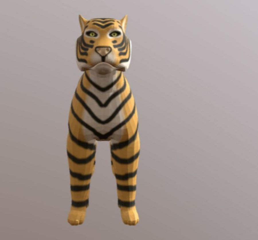 Cartoon Tiger royalty-free 3d model - Preview no. 2