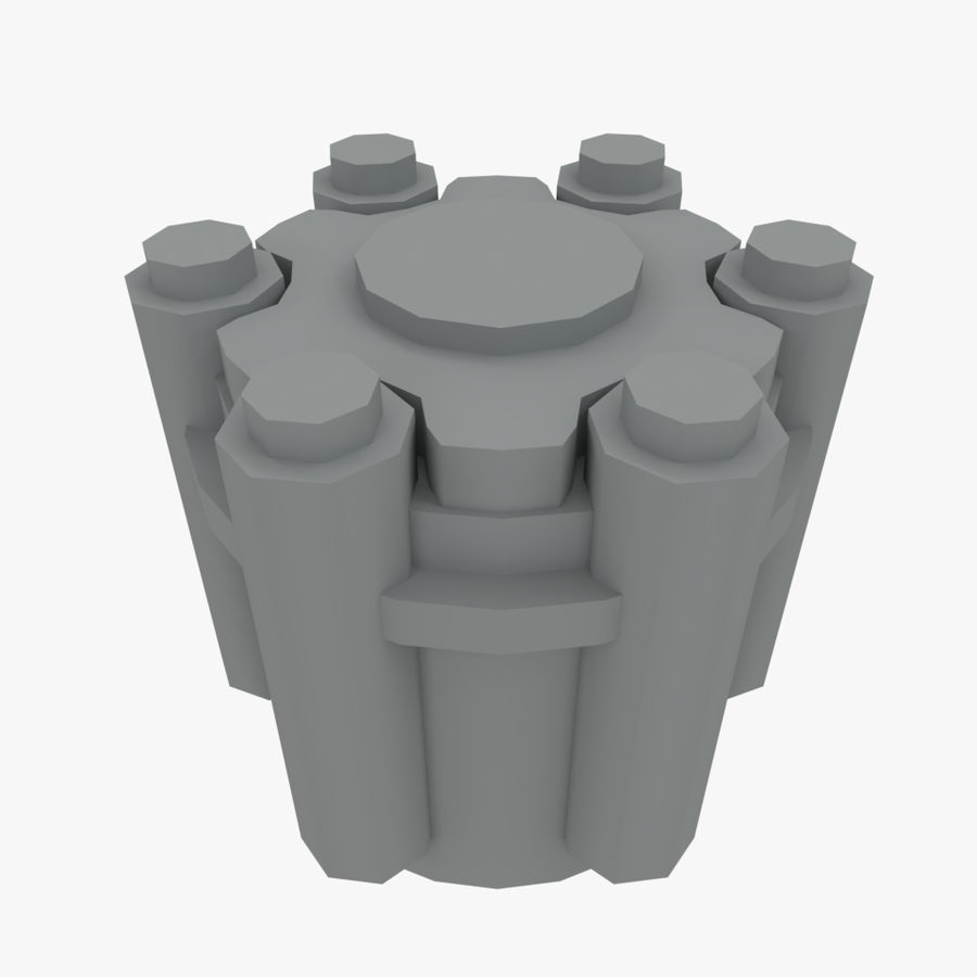 六螺杆格力发动机零件 royalty-free 3d model - Preview no. 3