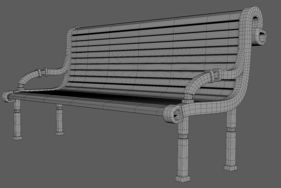 Скамейке в парке royalty-free 3d model - Preview no. 6