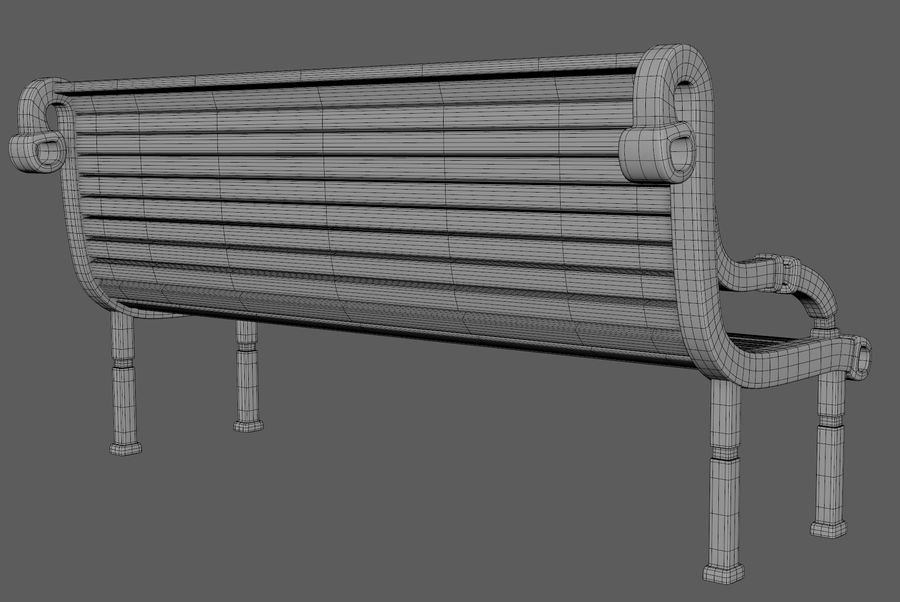 Скамейке в парке royalty-free 3d model - Preview no. 7