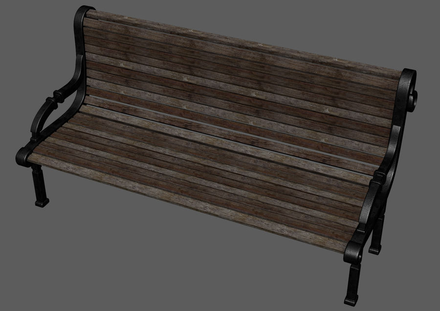 Скамейке в парке royalty-free 3d model - Preview no. 8