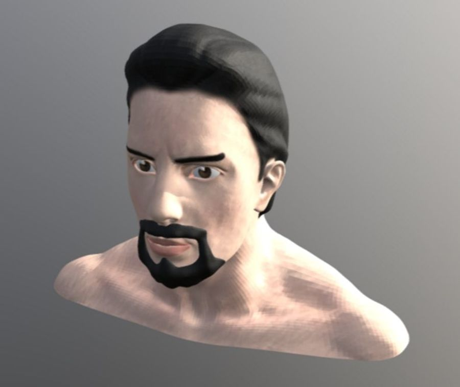 TONY STARK FACE royalty-free 3d model - Preview no. 5