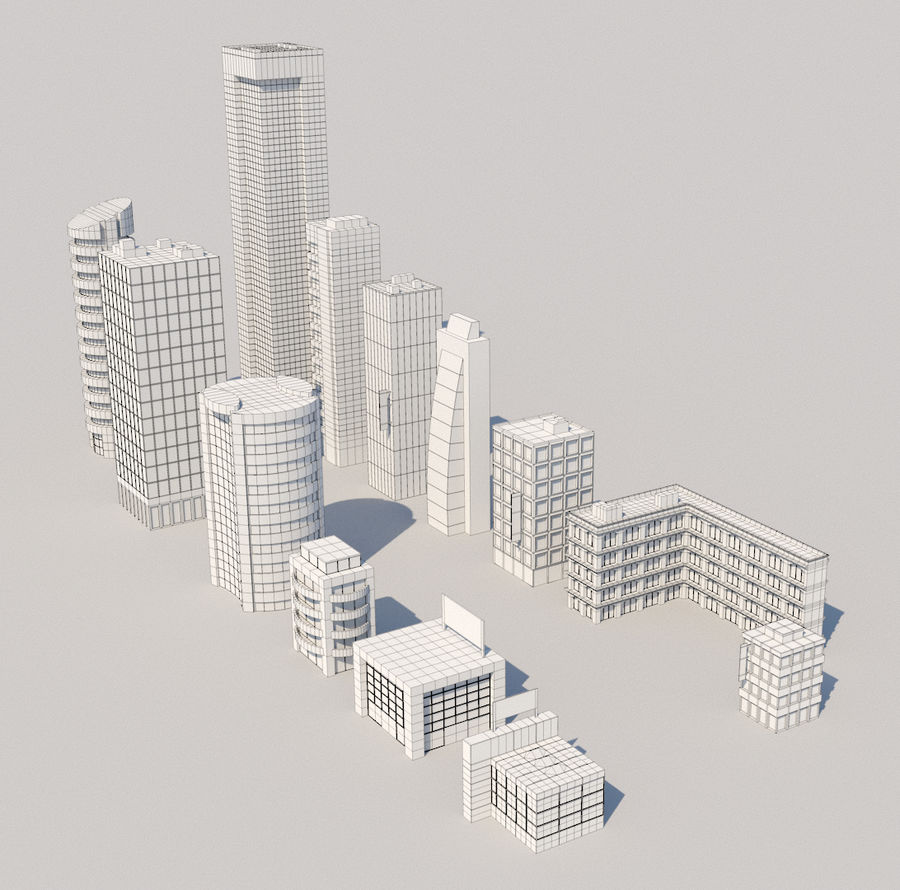 City Buildings Pack royalty-free 3d model - Preview no. 7