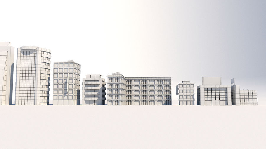 City Buildings Pack royalty-free 3d model - Preview no. 8