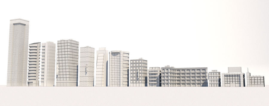 City Buildings Pack royalty-free 3d model - Preview no. 9