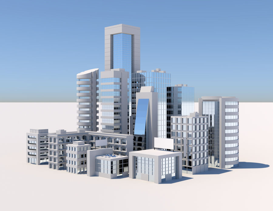 City Buildings Pack royalty-free 3d model - Preview no. 1