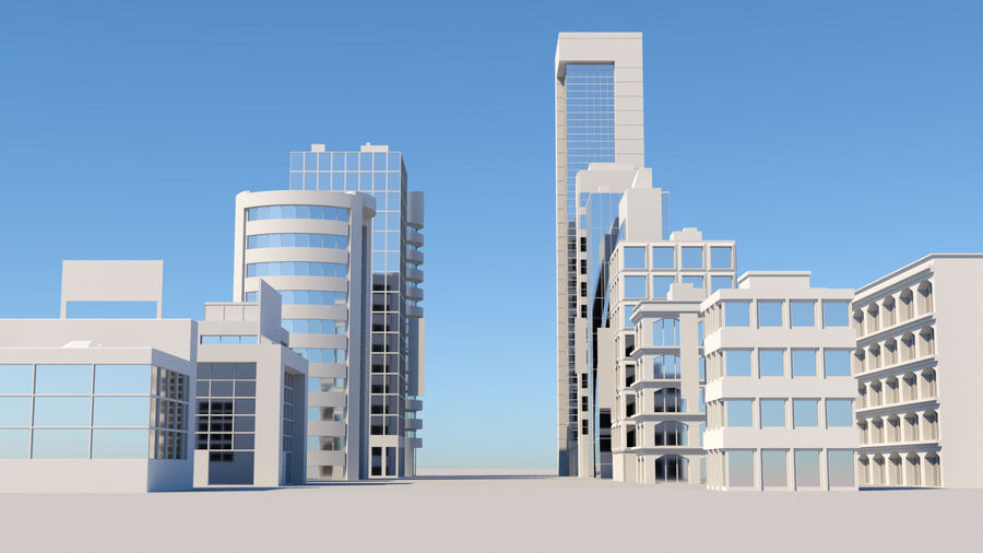 City Buildings Pack royalty-free 3d model - Preview no. 2