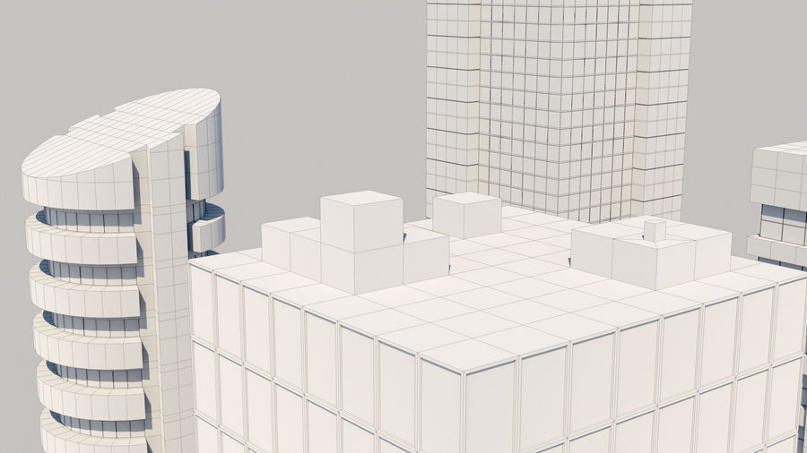 City Buildings Pack royalty-free 3d model - Preview no. 11
