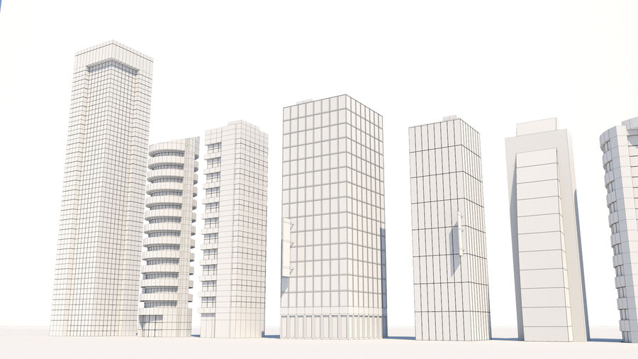 City Buildings Pack royalty-free 3d model - Preview no. 10