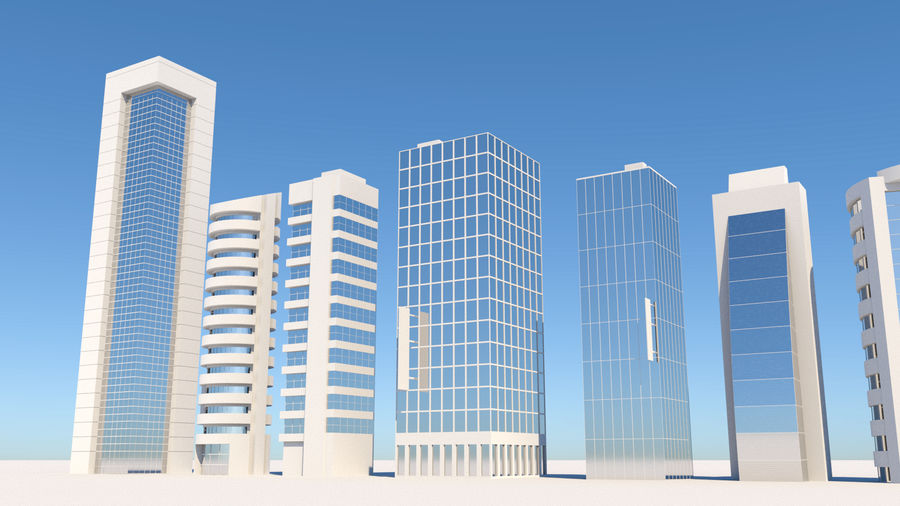 City Buildings Pack royalty-free 3d model - Preview no. 4