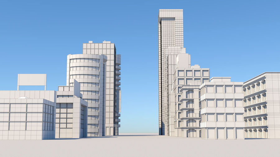 City Buildings Pack royalty-free 3d model - Preview no. 6