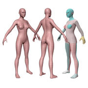 Base per corpo femminile Lowpoly per produzione 3d model