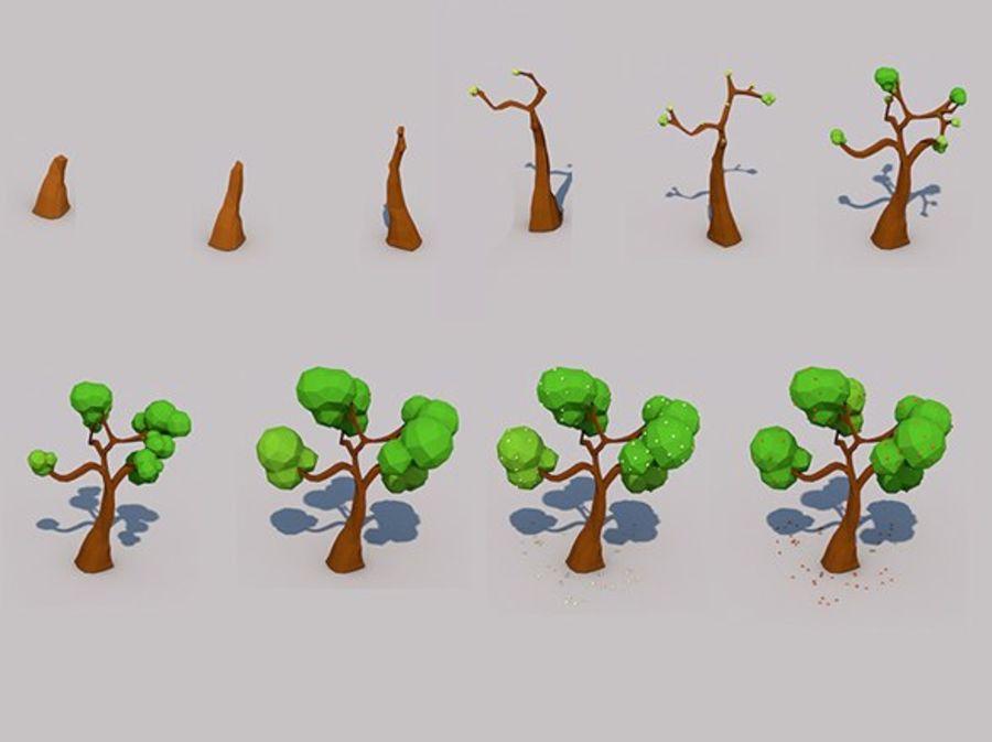 Stades de croissance des arbres Low poly royalty-free 3d model - Preview no. 1