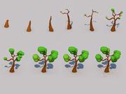 木の成長段階低ポリ 3d model