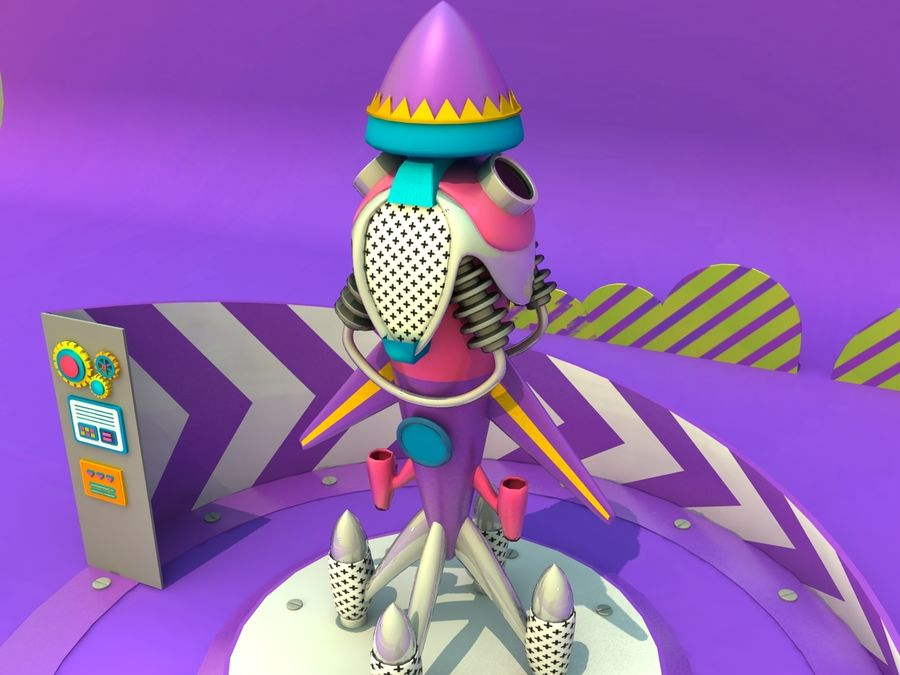 cartoon  rocket  airplane aircraft royalty-free 3d model - Preview no. 1