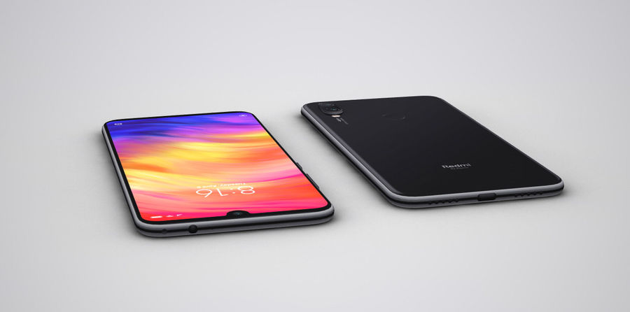 Xiaomi Redmi NOte 7 royalty-free 3d model - Preview no. 5