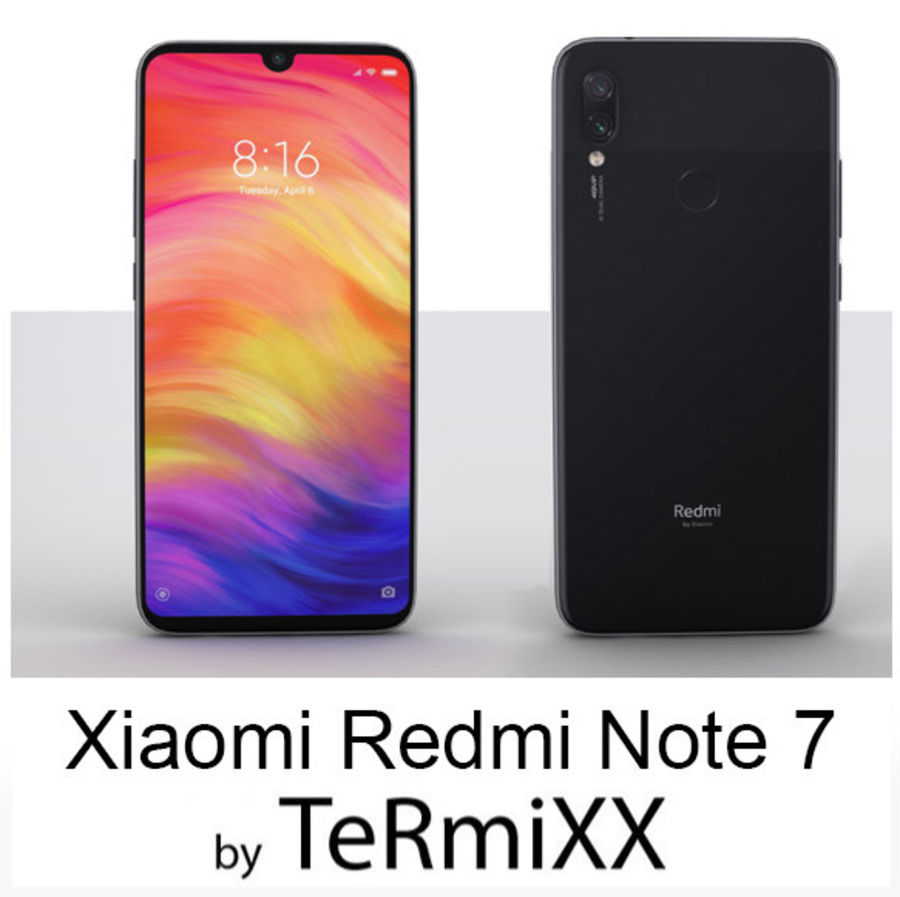 Xiaomi Redmi NOte 7 royalty-free 3d model - Preview no. 1