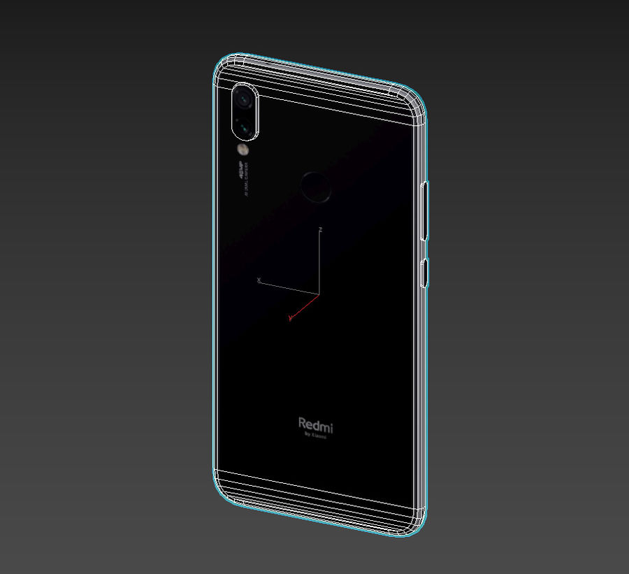 Xiaomi Redmi NOte 7 royalty-free 3d model - Preview no. 6