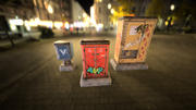 Sci-fi cyberpunk city street electrical boxes 3d model