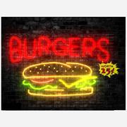 Burger neon skylt 3d model