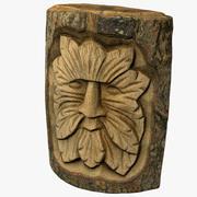 木彫りの顔 3d model