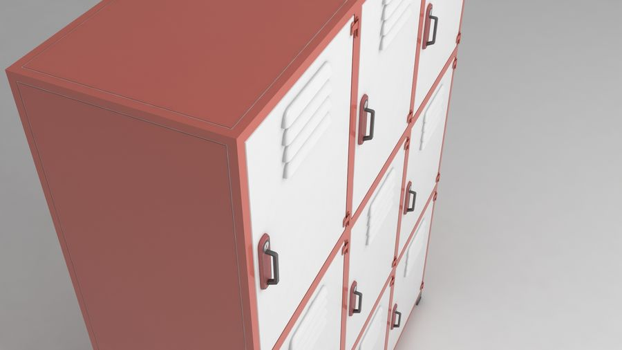 metal storage cabinet furniture royalty-free 3d model - Preview no. 8