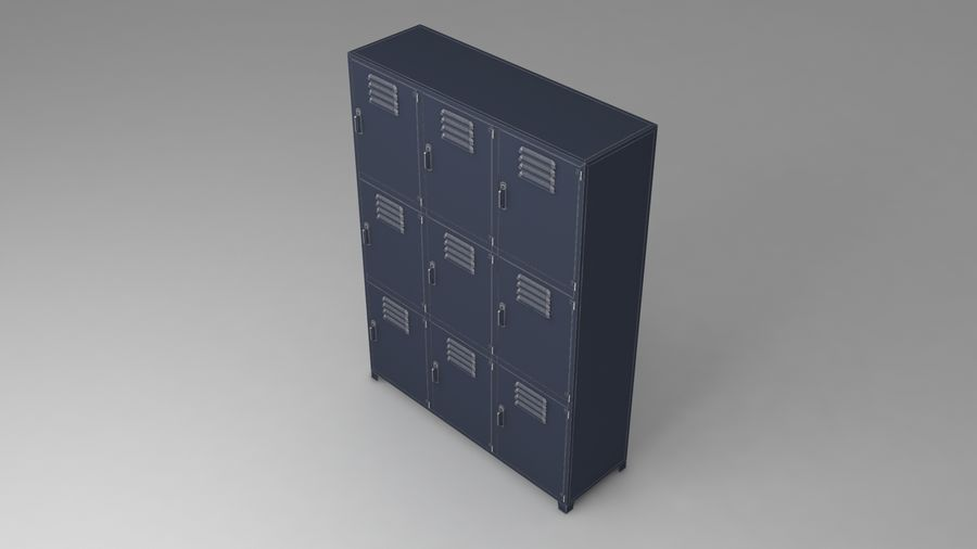 metal storage cabinet furniture royalty-free 3d model - Preview no. 22