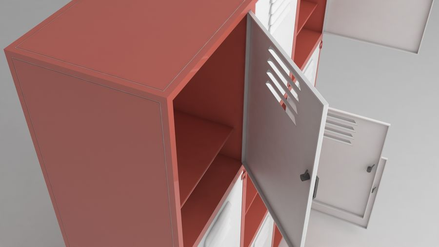 metal storage cabinet furniture royalty-free 3d model - Preview no. 18
