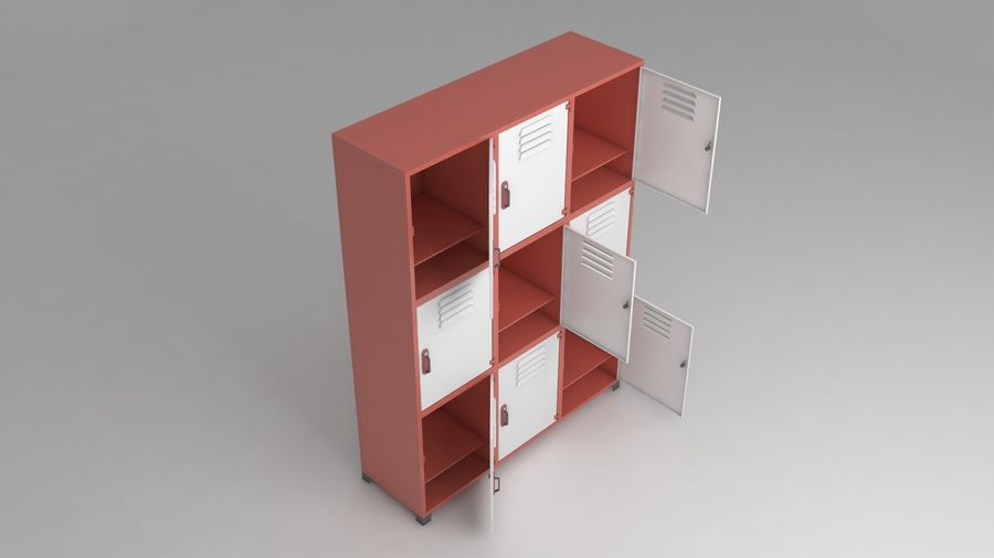 metal storage cabinet furniture royalty-free 3d model - Preview no. 11