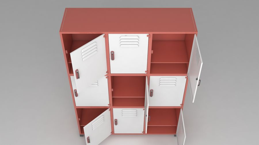 metal storage cabinet furniture royalty-free 3d model - Preview no. 12