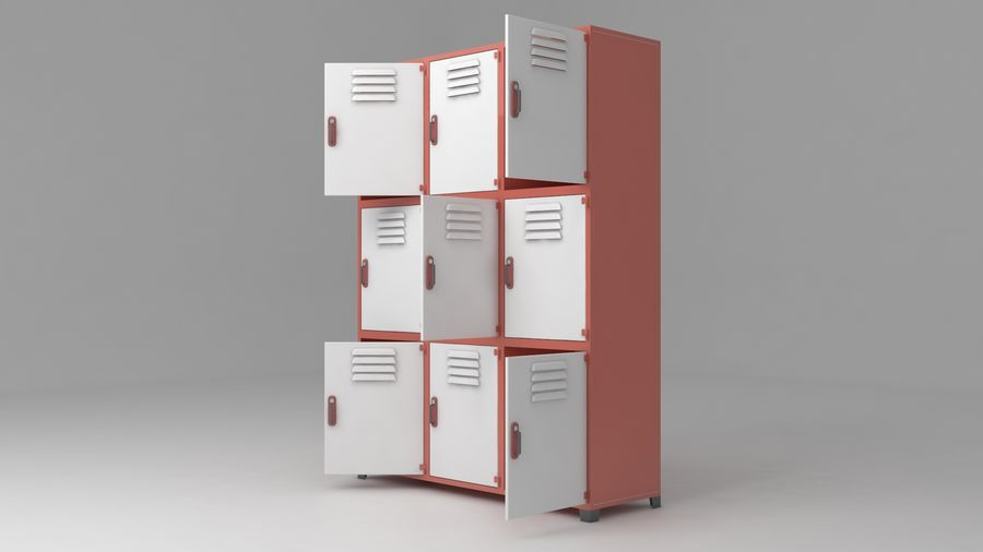 metal storage cabinet furniture royalty-free 3d model - Preview no. 16