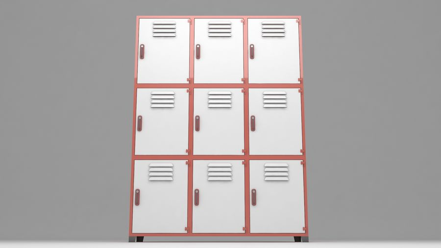 metal storage cabinet furniture royalty-free 3d model - Preview no. 10