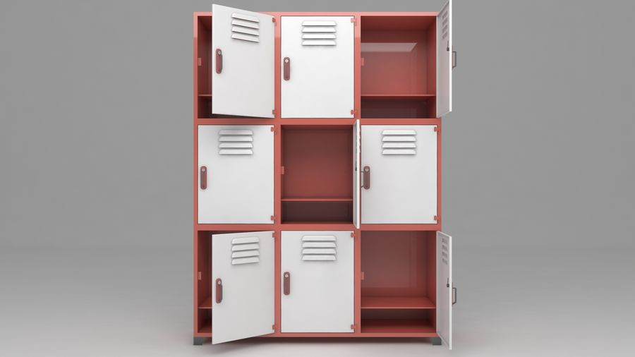metal storage cabinet furniture royalty-free 3d model - Preview no. 15
