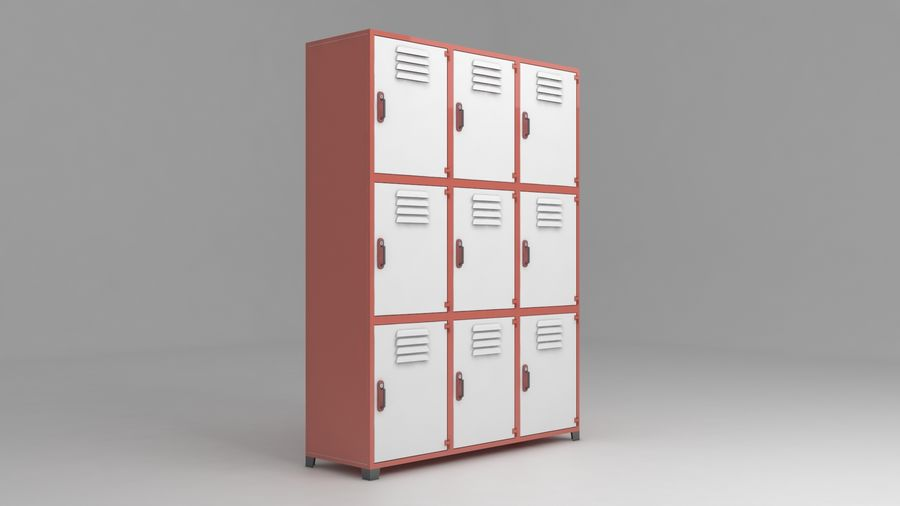 metal storage cabinet furniture royalty-free 3d model - Preview no. 4