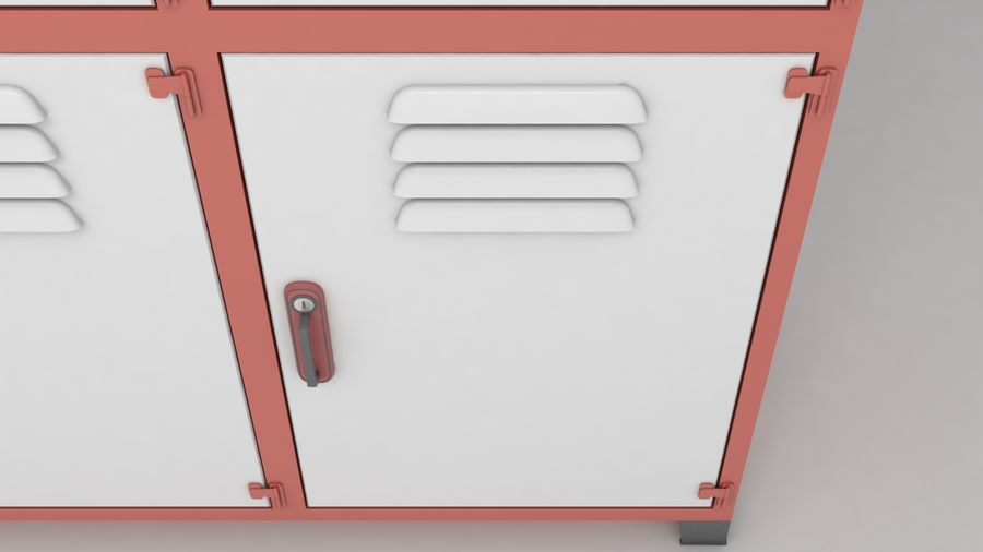 metal storage cabinet furniture royalty-free 3d model - Preview no. 7