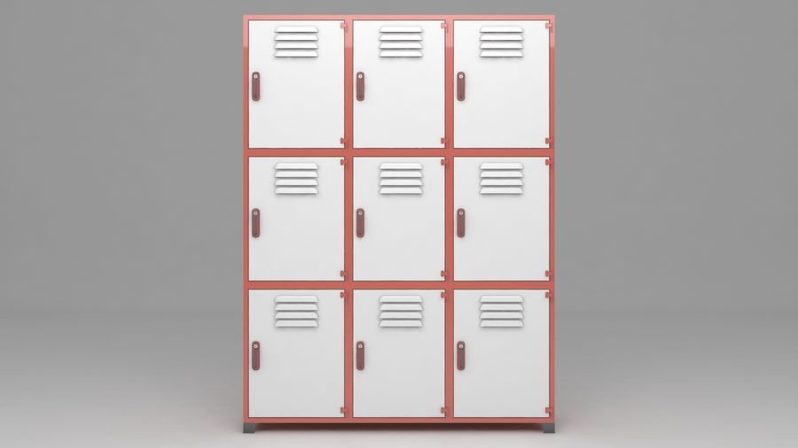 metal storage cabinet furniture royalty-free 3d model - Preview no. 5