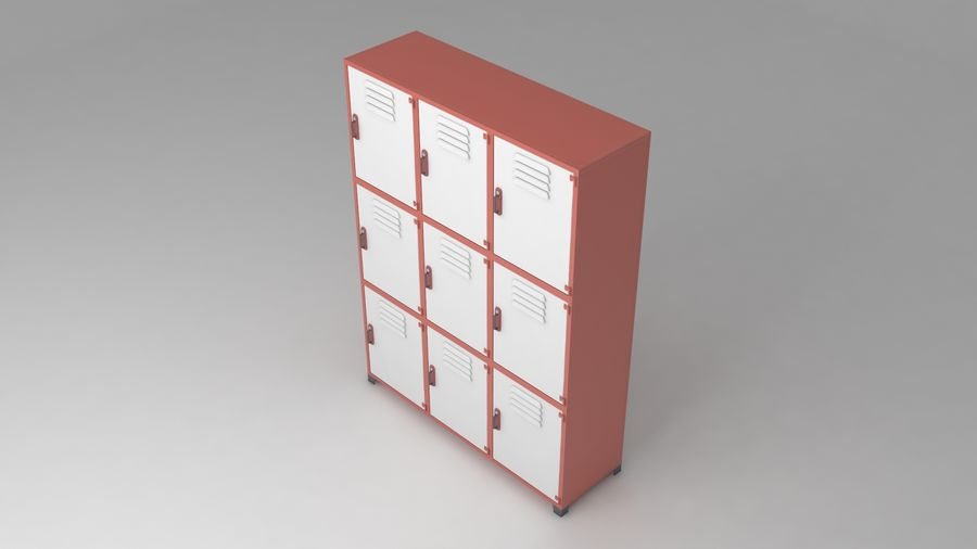 metal storage cabinet furniture royalty-free 3d model - Preview no. 3
