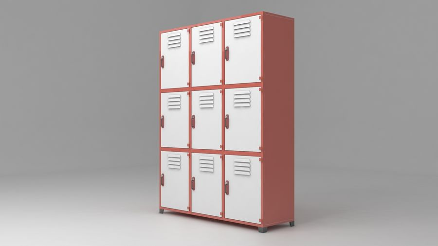 metal storage cabinet furniture royalty-free 3d model - Preview no. 6