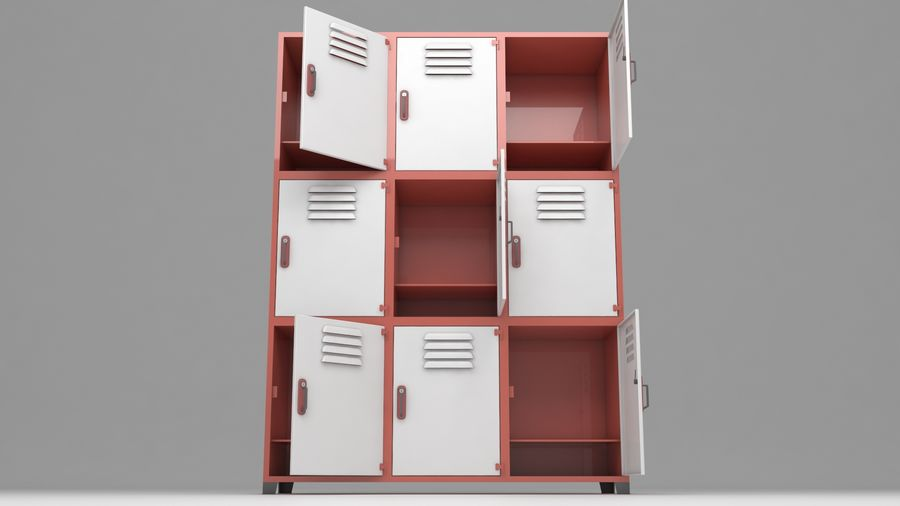 metal storage cabinet furniture royalty-free 3d model - Preview no. 19