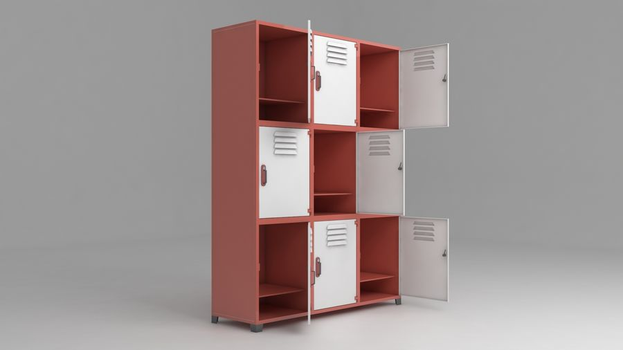 metal storage cabinet furniture royalty-free 3d model - Preview no. 14